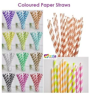Coloured Paper Straws for Vintage Baby Shower Wedding Birthday Party Supplies