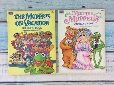 Lot of 2 The Muppets Coloring Book 1982 1980s Happy House Vtg Vacation UNUSED