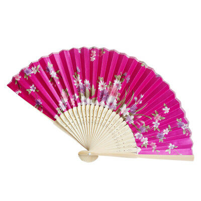 Retro Bamboo Folding Hand Flower Fan Chinese Style Dance Party Pocket Gift M YT8