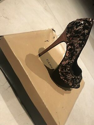 Kurt Geiger Black And Gold Metal Comb Heels Size 5 38 (Used With Box) RRP £140