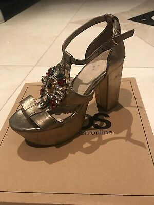 ASOS Gold Metallic Heels Size 5 38 (Used With Box) For Sale!