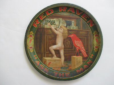 """12-Inch RED RAVEN Laxative """"Papa Has a Headache"""" Metal Advertising Tray c.1900?"""