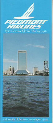 Piedmont Airlines timetable 2/1/82