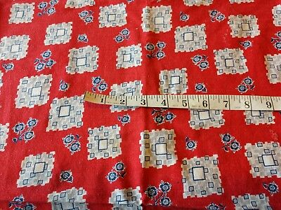 Vintage Feedsack Opened Blue Flowers Squares On Red Quilting