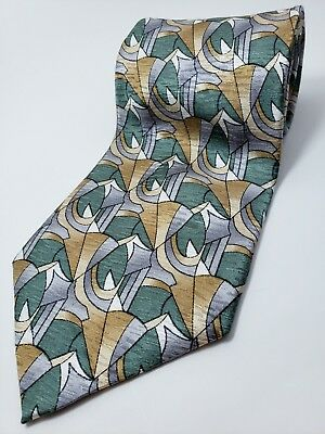 COCKTAIL COLLECTION - MARTINI 100% Silk Tie Men's NWOT Silver Teal Gold Necktie