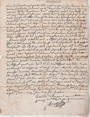 1724 Old French Original Document with Montpellier Cachet refers to Saint-Étienn