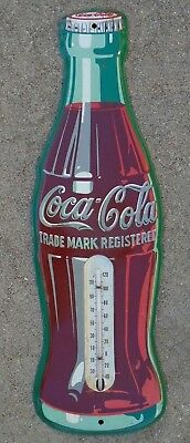 old tin litho advertising Coca Cola bottle thermometer sign