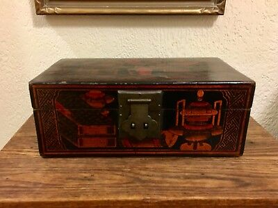 Antique / Vintage Chinese Asian Lacquer Document Box