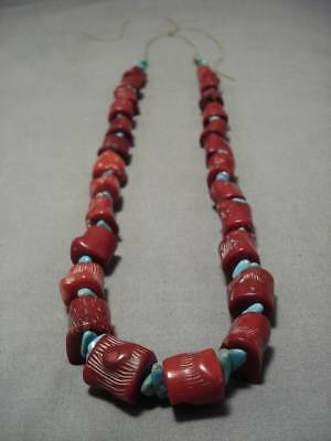 Huge Chunky Coral Vintage Navajo Royston Turquoise Necklace Old