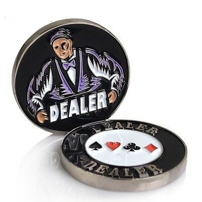 1pc Double Sided Metal Dealer Button Texas Hold'Em Poker Card Game Supply Prop