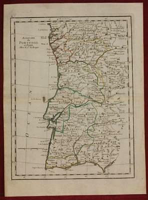 Portugal 1753 George Louis Le Rouge Antique Original Copper Engraved Map