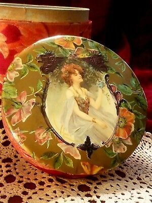 Antique Victorian -COLLAR CUFF BOX -Celluloid & Velvet Brocade-Lady With Flowers