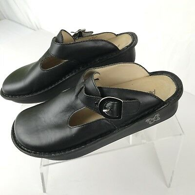ALEGRIA Classic Clogs Black Leather Slip On Comfort Shoes Size 39