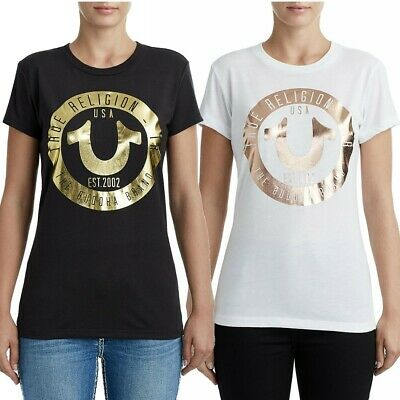 True Religion Women's Circle Horseshoe Metallic Foil Logo Tee T-Shirt