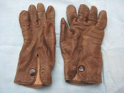 Vintage Leather Brown Mens Gloves with Button Wrists