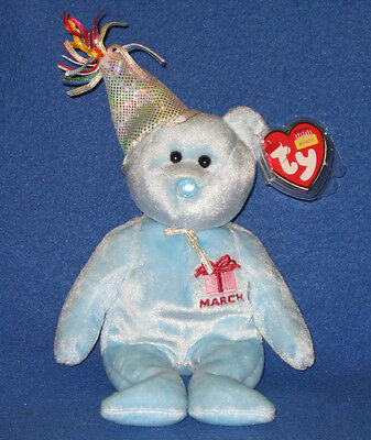 TY MARCH the BIRTHDAY BEAR BEANIE BABY - MINT with NEAR PERFECT TAG - SEE PICS