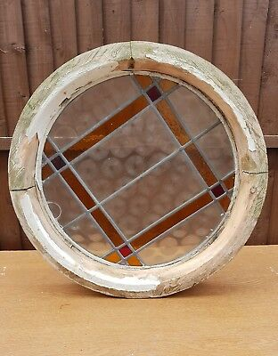 Round Window Stained Glass Leaded Light Porthole Wooden Window Art Deco Feature