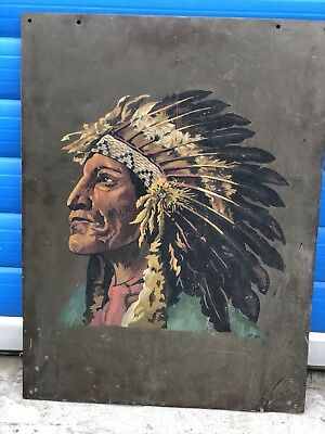 Vintage original oil painting native indian chief Signed - hAs 1941 - Bronze