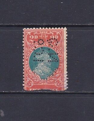 NSW Stamp Duty Revenue stamp 1914 2d KEVII Private Perfin Damaged