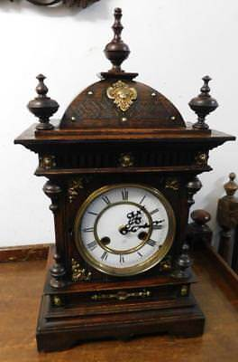 pretty edwardian oak bracket clock,now with fitted battery movement