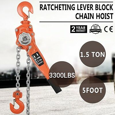 1.5t Lever Block 5ft Chain Hoist Lifter Load Brake Built-In Gearing Solid Grips