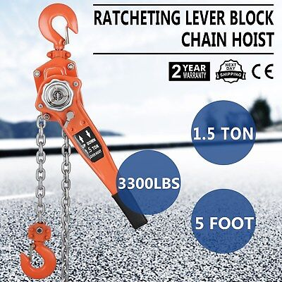 1.5t Lever Block 5ft Chain Hoist Puller Lifter Load Brake Reliable Easy Control