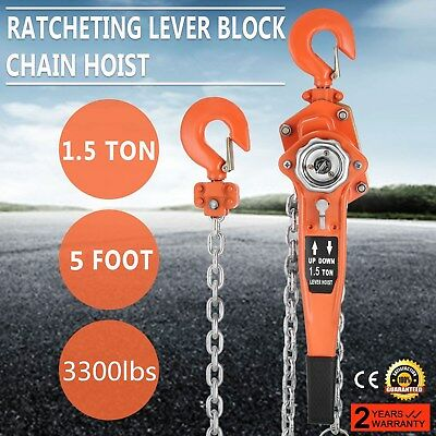 1.5t Lever Block 5ft Chain Hoist Puller Lifter Reliable Durable Solid Grips