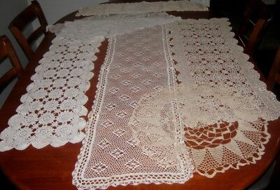 6 Large Vintage Crocheted & Lace Table Runners~Cotton~White/cream/beige