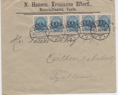 Denmark-1898 Postage paid 20 ore on Varde letter cover to Germany