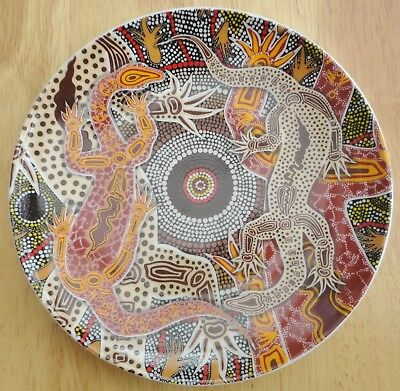 Tobwabba Aboriginal Art Small Ceramic  Plate - Monitor Lizards (Goannas) - Boxed