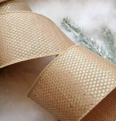 1m x 63mm SOFT WIRED CHRISTMAS RIBBON GLITTER SPARKLE DOTS BOWS CAKE GIFT CRAFT