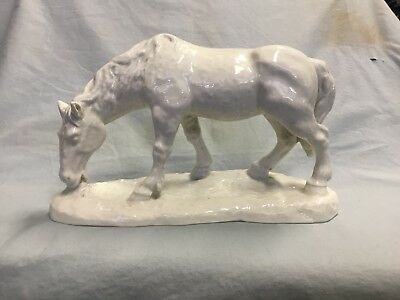 Porcelain white Grazing Horse figurine by Schaubach Kunst of Germany