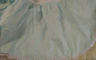 Simply Shabby Chic Crib Dust Ruffle blue (teal) pink trim Baby nursery