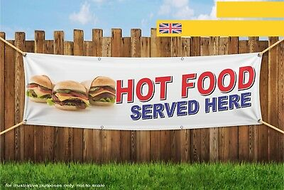 Hot Food Served Here Take Away Eat Heavy Duty PVC Banner Sign 3726