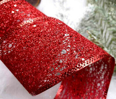 1m 65mm ROSE GOLD RED WIRED GLITTERY DECO  MESH CHRISTMAS RIBBON/ GIFT BOW TREE