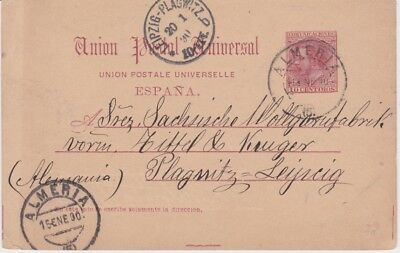 Spain-1890 10 c rose red PS postcard Almeria cover to Leipzig, Germany