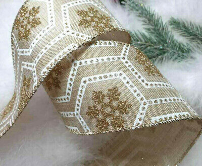 1m  65mm WIRED VERY SILVER GLITTER SPARKLY CHRISTMAS RIBBON GIFT TREE BOW WREATH
