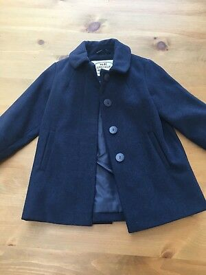 Girls Marks And Spencer navy Wool coat age 2-3 years