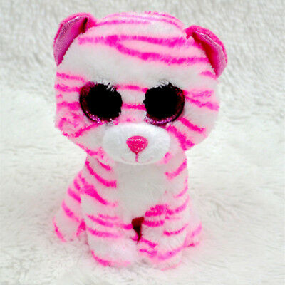 Cute Striped leopard TY Beanie Boos Plush Stuffed Toys Glitter Eyes (6 inch)