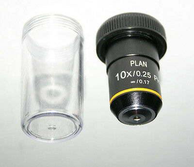 Fisher AMG Plan 10X phase contrast Infinity Microscope Objective New