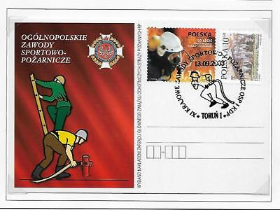 Poland Fire Fighting Pictorial  Stationery Post Cards Plain Back (2)  2003
