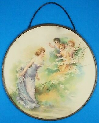 Antique Victorian Flue Cover Beautiful Lady with 3 Cherubs