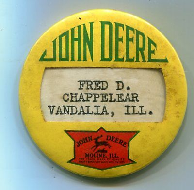 Vintage John Deere Name Pin Badge, St. Louis Button Company