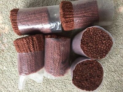 BRAND NEW thick CHOCOLATE BROWN latch hook wool 6 BUNDLES BN