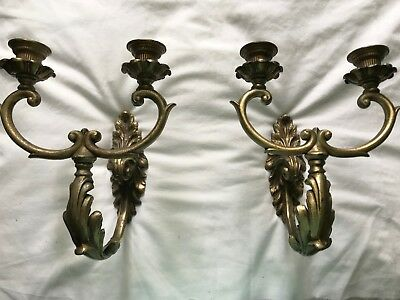 Pair Vintage Heavy Brass Ornate Wall Sconce  Double Arm Candle Holders 10 Inch
