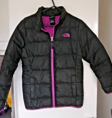 The North Face - girls padded jacket, black/purple size 10/12 years