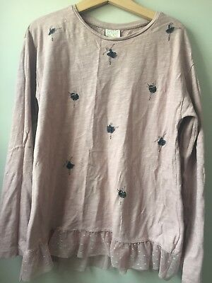 Zara Girl's Long Sleeved Top, Dusky Pink, Age 9-10 Years, 100% Cotton