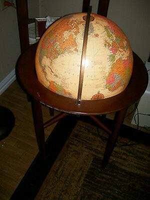 "Mid Century Style High End Replogle Illuminated 16"" Globe With Stand Lighted"