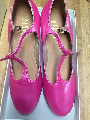 """Character Shoes Ladies Size 6 1/2 Bloch T-Strap3"""" Heel New Painted Pink"""