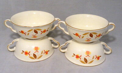 Set of Four Jewel Tea Hall China Autumn Leaf Two Handled Cream Soup Bowls EUC